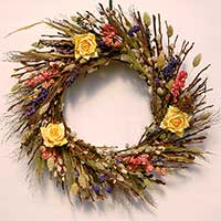 Pussy Willows and Flowers Wreath